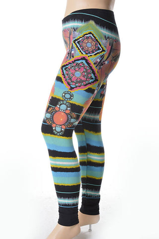 Colorful Native Feather Plus Size Leggings - Carrie's Closet
