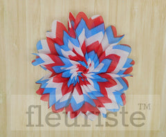 "4th of July Mini Lotus Leaf Flower - 3"" Patriotic Flower"