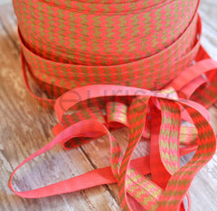 Metallic Printed Foldover Elastic-Coral with Gold Chevron