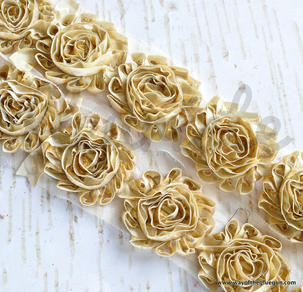 Metallic Shabby Rose Trim - By the Yard - Gold
