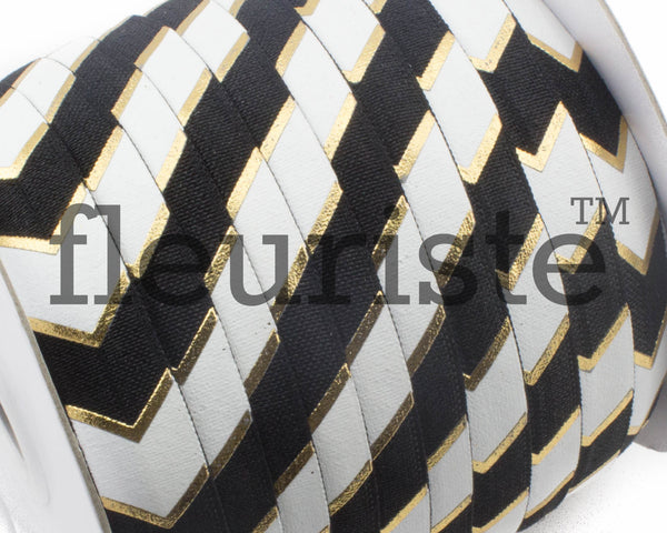 Printed Metallic Elastic 5/8 Black Gold Chunky Chevron