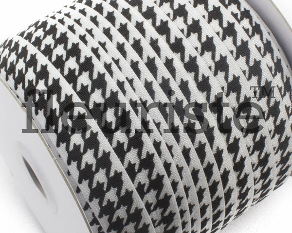 "Printed Fold Over Elastic-5/8"" Width White Black Houndstooth"