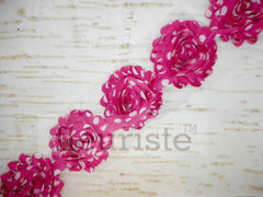 Patterned Shabby Trim by the Yard- Hot Pink White Dot