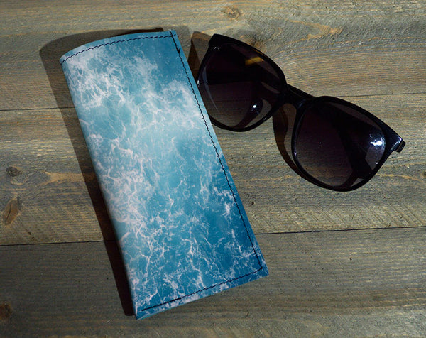 Ocean Waves - Printed Leather Eyeglasses Case