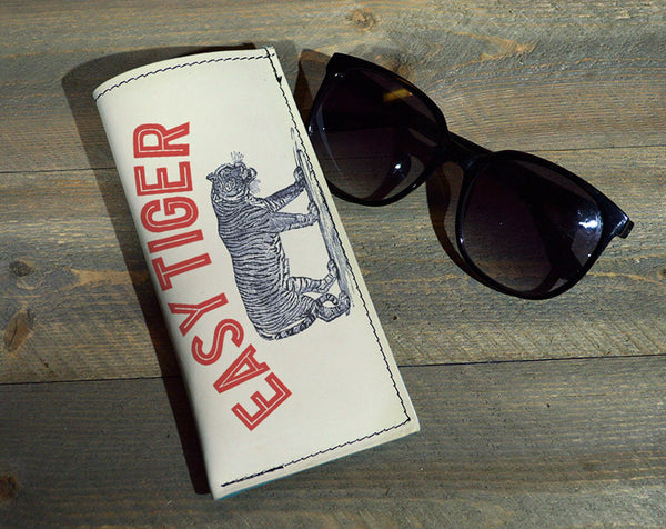 Easy Tiger - Printed Leather Eyeglasses Case