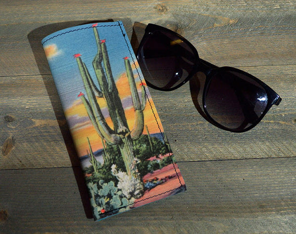 Cactus Eve - Printed Leather Eyeglasses Case