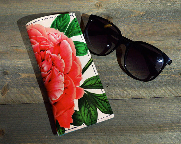 Red Flower - Printed Leather Eyeglasses Case