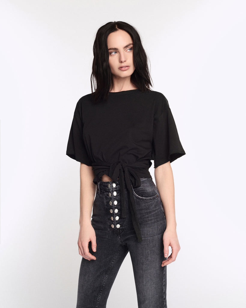 Luca Wrapped Tee in Black