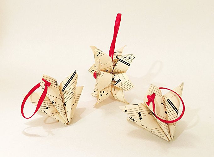 Sheet Music Christmas Ornaments- set of 3 paper flowers, falling star,wedding decor, one of a kind origami, gift, christmas ornament