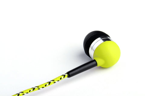 Neon Yellow Earbuds with White & Black Braided Accents