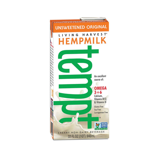 Living Harvest Original Tempt Hemp Milk - Unsweetened Creamy Non - Dairy Beverage - Case Of 12 - 32 Fl Oz.
