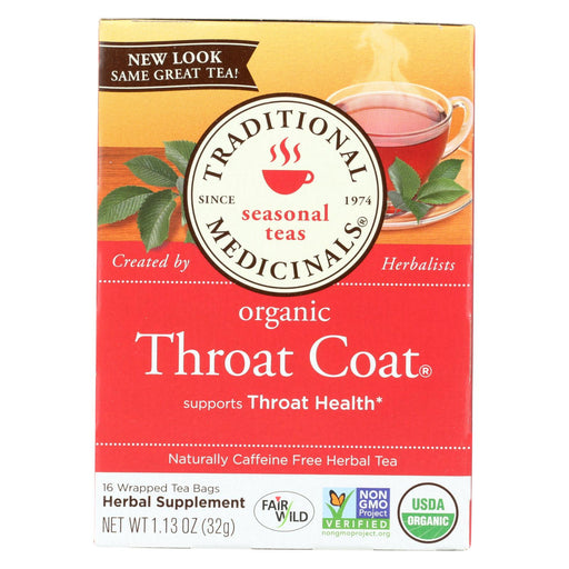 Traditional Medicinals Organic Throat Coat Herbal Tea - 16 Tea Bags - Case Of 6