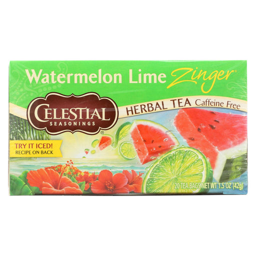 Celestial Seasonings Herbal Tea - Watermelon Lime Zinger - 20 Bags - Case Of 6