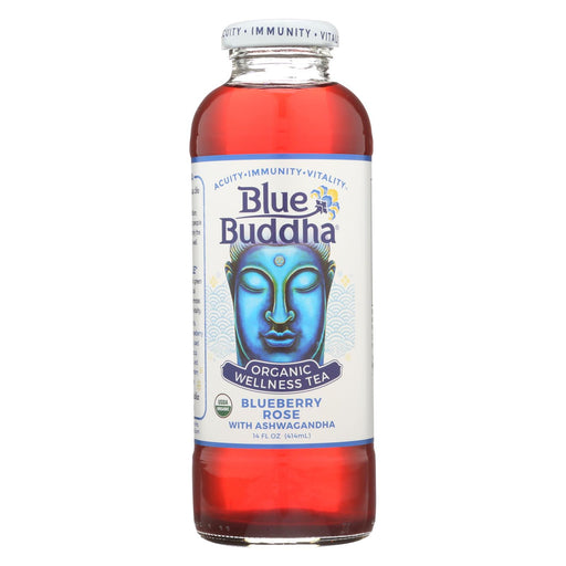 Blue Buddha Organic Wellness Tea - Blueberry Rose With Ashwagandha - Case Of 12 - 14 Oz.