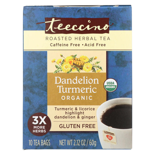 Teeccino Organic Chircory Herbal Tea - Dandelion Turmeric - Case Of 6 - 10 Bag