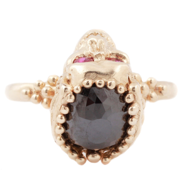 Black Diamond & Ruby Skull Ring