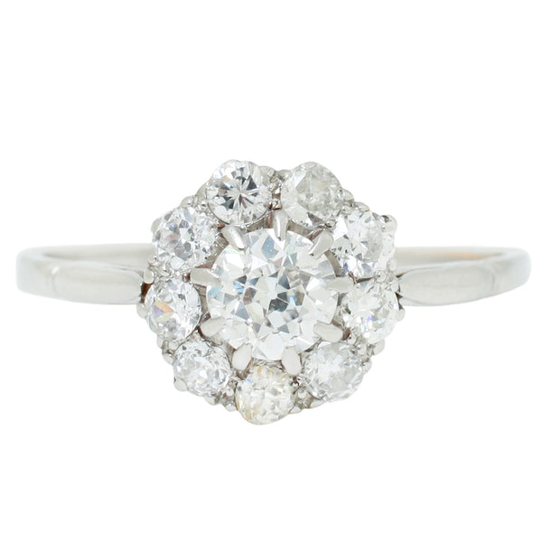 Platinum Flower Cluster Ring