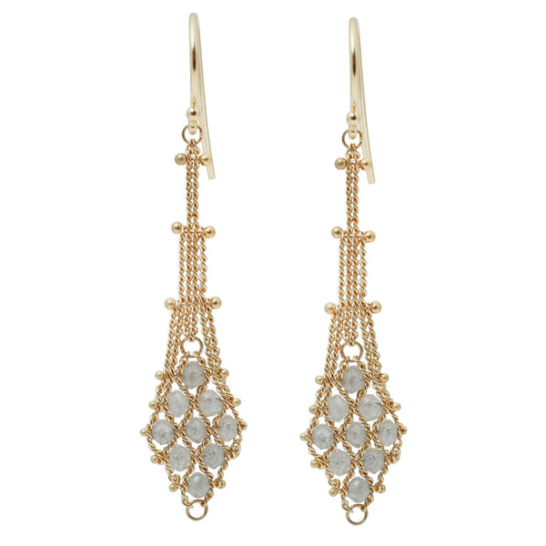 Diamond Textile Drop Earrings
