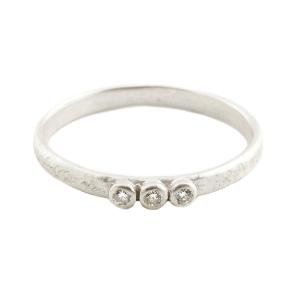Silver Three Diamond Band