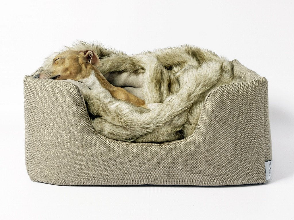 Charley Chau Faux-Fur Dog Blanket in Oatmeal in our Deeply Dishy Bed in Pewter