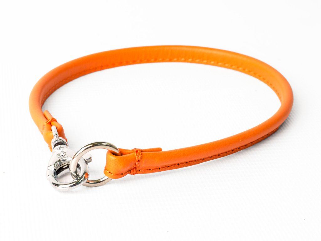 Leather House Collar in Orange Peel