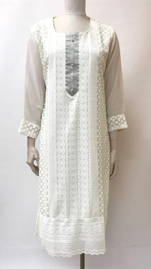 Georgette Hand Embroidered Kurt- off white