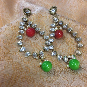 Red & Green Stones Studded Earrings - Sarang