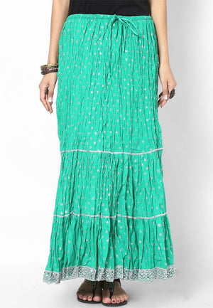 Rajasthani Print Girls Skirt-Green - Sarang