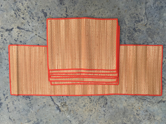 Woven table runner with dining table mats