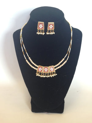 Meenakari Reversible Necklace Set - Sarang
