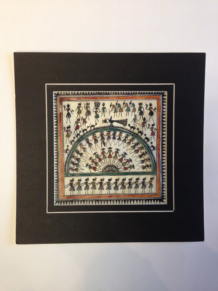 Frameable Warli Art Painting On Silk