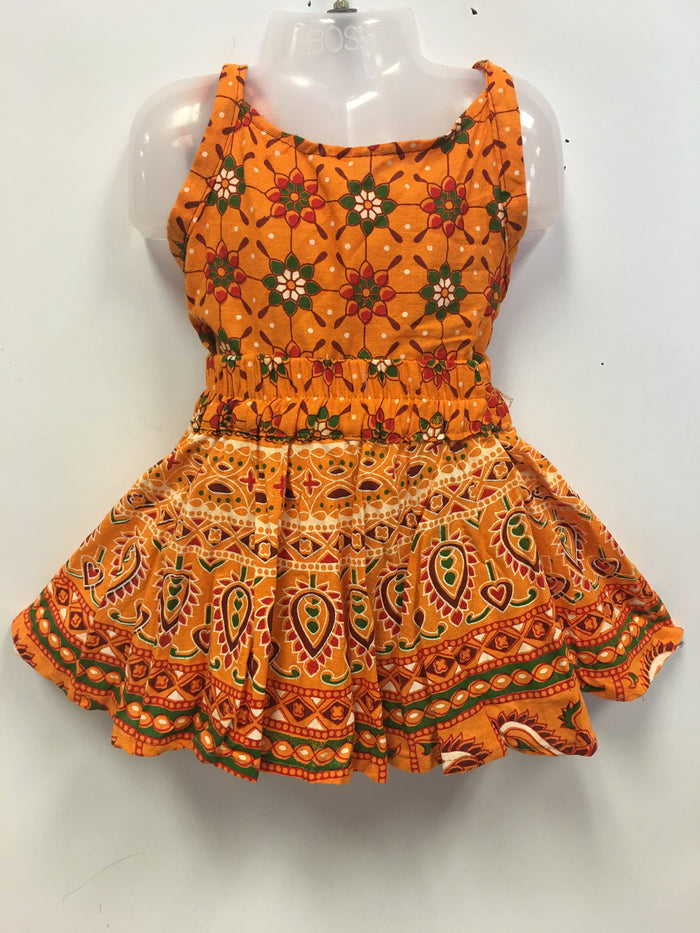 Rajasthani Print Skirt and Top - Orange-Yellow