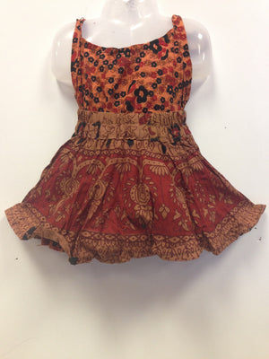 Rajasthani Print Skirt and Top - Maroon