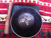 "TIBETAN SINGING BOWL - lovely decorated black bowl, 5"" box set with striker - Sound For Health  - 2"