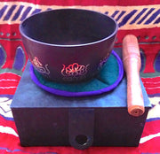"TIBETAN SINGING BOWL - lovely decorated black bowl, 5"" box set with striker - Sound For Health  - 1"