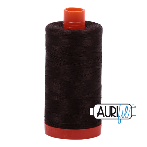 Aurifil 50 wt cotton thread, 1300m, Very Dark Bark (1130)