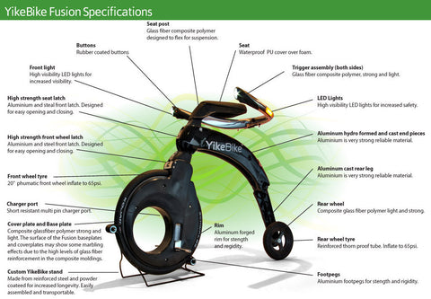 YikeBike Fusion Entire YELLOW (Body & Rim)