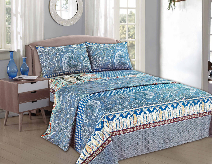 Tache Paisley Monarch Fitted and Flat Bed Sheet Set (2814FITFLT) - Tache Home Fashion
