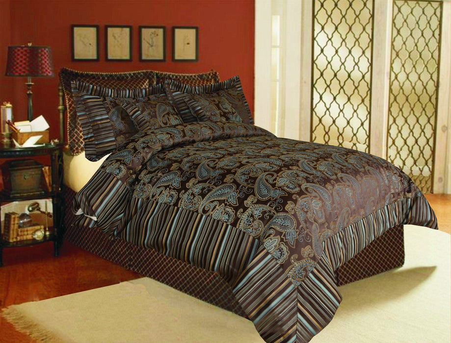 Tache 6 Piece Eastern Spring Paisley Chenille Comforter Bedding Set With Zipper (14070) - Tache Home Fashion