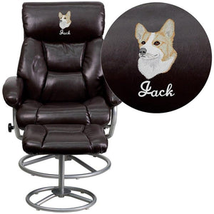 Flash Furniture BT-70230-BRN-CIR-EMB-GG Embroidered Contemporary Brown Leather Recliner and Ottoman with Metal Base