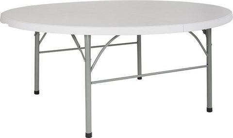 Flash Furniture DAD-183RZ-GG 72'' Round Bi-Fold Granite White Plastic Folding Table