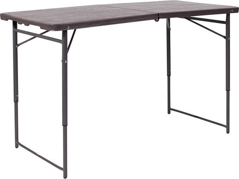 Flash Furniture DAD-LF-122Z-GG 23.5''W x 48.25''L Height Adjustable Bi-Fold Brown Wood Grain Plastic Folding Table with Carrying Handle