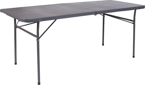 Flash Furniture DAD-LF-183Z-DG-GG 30''W x 72''L Bi-Fold Dark Gray Plastic Folding Table with Carrying Handle