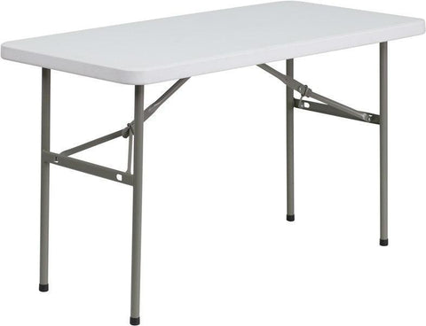 Flash Furniture DAD-YCZ-122-2-GG 24''W x 48''L Granite White Plastic Folding Table
