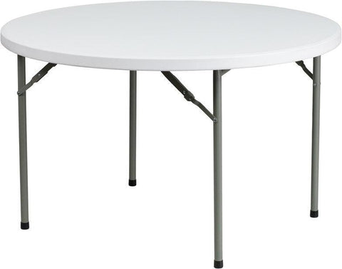 Flash Furniture DAD-YCZ-122R-GG 48'' Round Granite White Plastic Folding Table