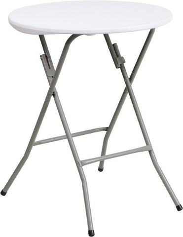 Flash Furniture DAD-YCZ-80R-1-SM-GW-GG 24'' Round Granite White Plastic Folding Table