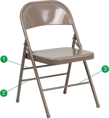 Flash Furniture HF3-MC-309AS-BGE-GG HERCULES Series Triple Braced & Double-Hinged Beige Metal Folding Chair