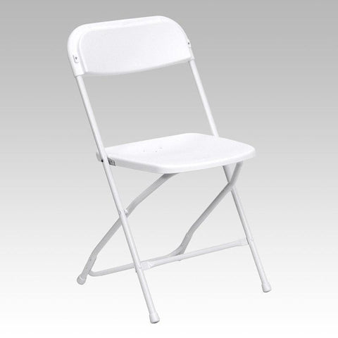 Flash Furniture LE-L-3-WHITE-GG HERCULES Series 650 lb. Capacity Premium White Plastic Folding Chair