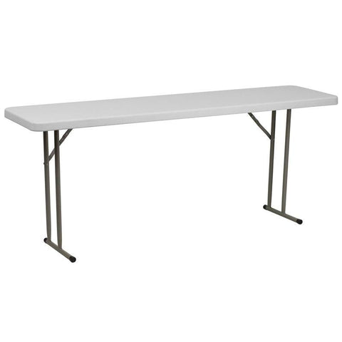 Flash Furniture RB-1872-GG 18''W x 72''L Granite White Plastic Folding Training Table
