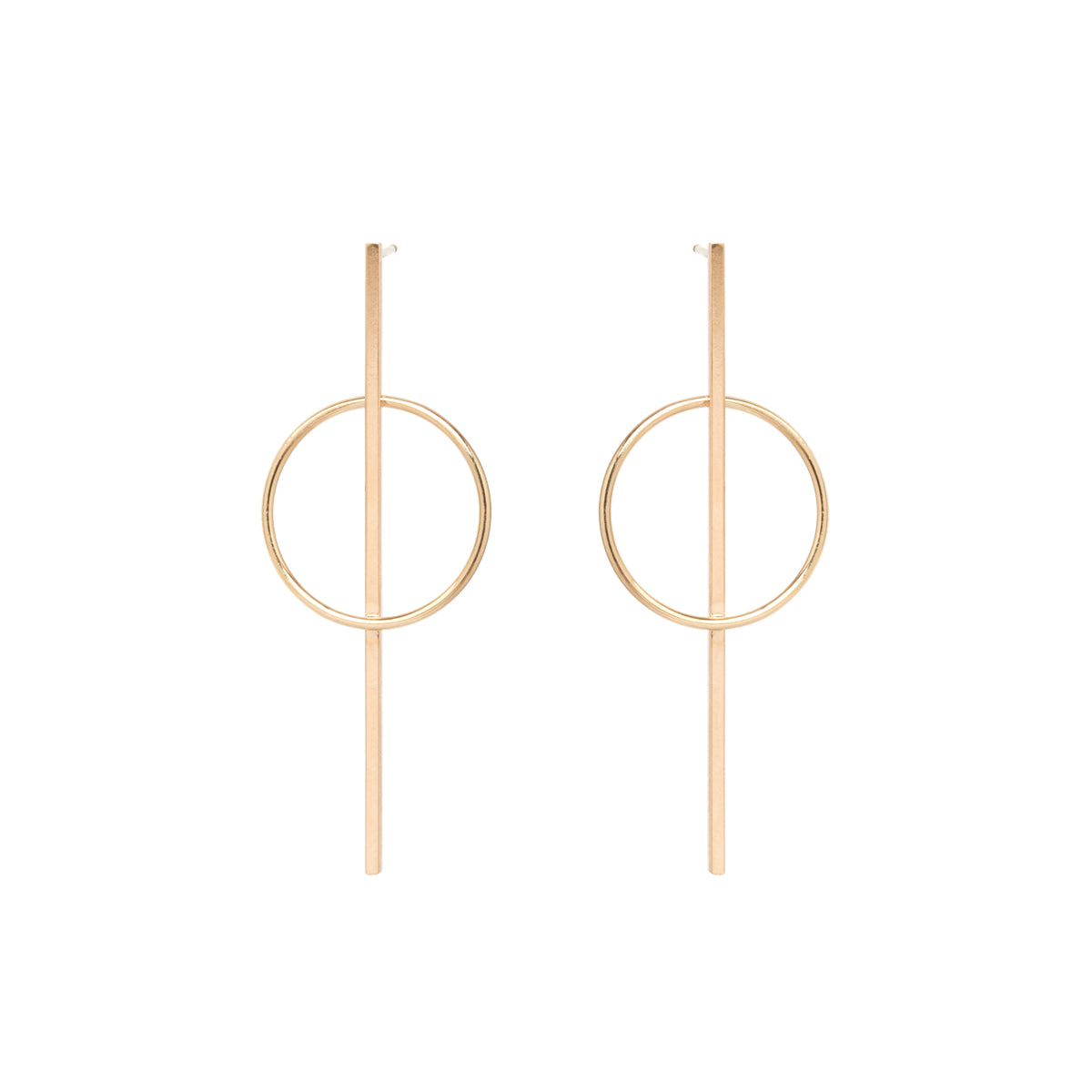 14k long bar and circle post earring